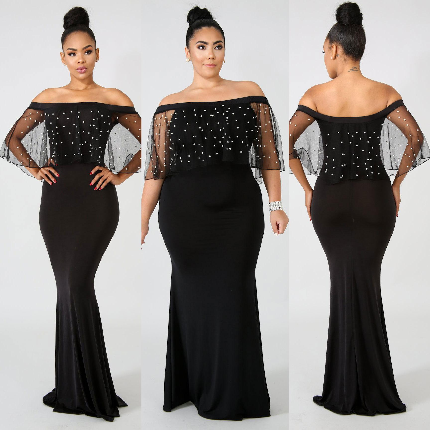 Slash Neck Pearls Mesh Ruffles Women Long Mermaid Dresses Vestidos Black Off Shoulder Floor Length Maxi Party Dress