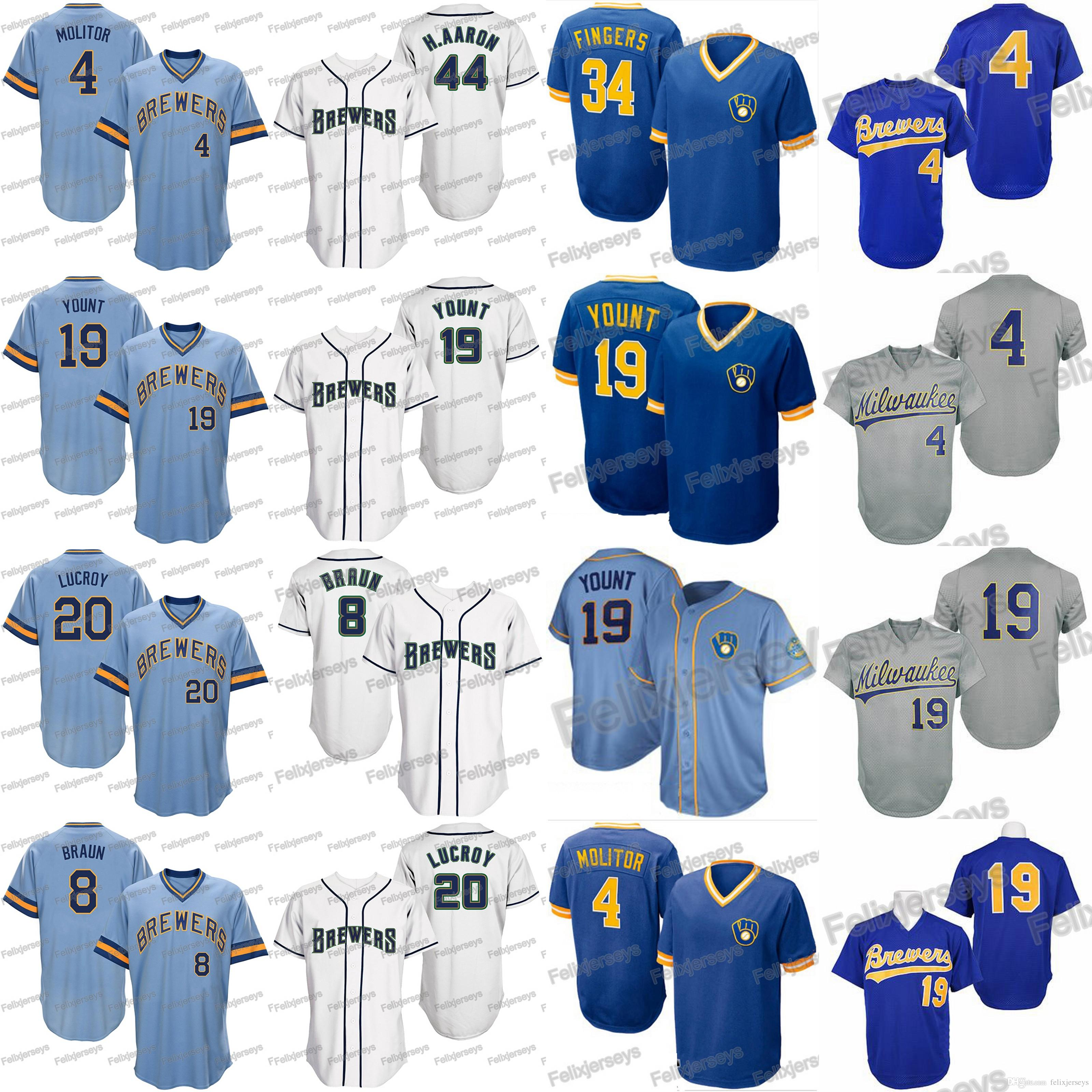 size 40 c1648 9764e 4 Paul Molitor Milwaukee 19 Robin Yount Ryan Braun Jonathan Lucroy Hank  Aaron Brewers Rollie Fingers Baseball Jerseys