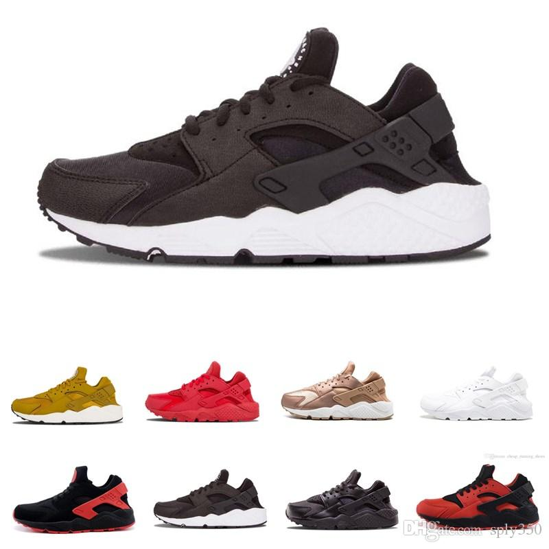 31315cef73f6 2019 Air Huarache 1.0 4.0 Mens Running Shoes Triple Black White Gold Red  Fashion Huaraches Mens Trainers Women Sports Sneaker Men Sports Shoes Shoe  Shops ...