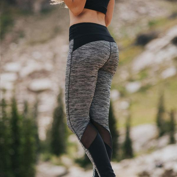 b4a7f29f508a65 2019 Sports Yoga Pants Of Tall Waist Elastic Splicing Nine Minutes ...