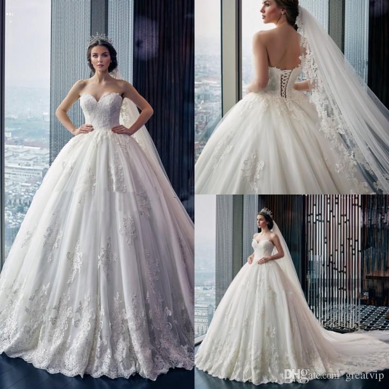 d448c2a77c7 2019 Ball Gown Wedding Dresses Sweetheart Lace Applique Sequins ...