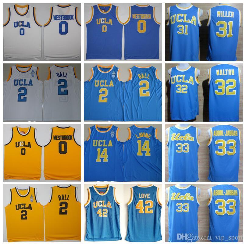 the latest 27d47 fbceb Russell Westbrook College Jerseys UCLA Bruins Basketball Lonzo Ball 2 Kevin  Love 42 Kareem Abdul Jabbar 33 Zach LaVine 14 Blue White Yellow