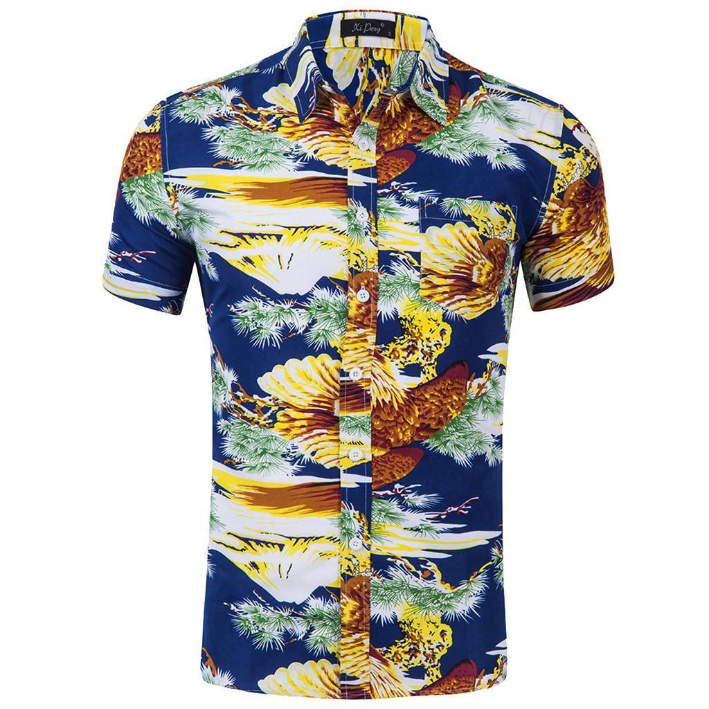 003904e9ed19 Compre ISHOWTIENDA Homens Verão Camisa Havaiana Praia Impressão Casual Homens  Camisa Magro Turn Dwom Collar Camisas Dos Homens Chemise Homme De Caeley,  ...
