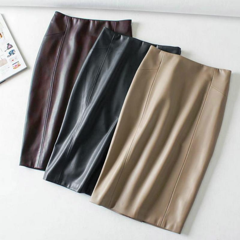 save up to 60% popular design limited sale Women Sexy Soft Pu Leather Pencil Midi Skirt Autumn Ladies Package Hip Back  Split Faux Leather Pencil Skirt Burgundy Coffee J190505