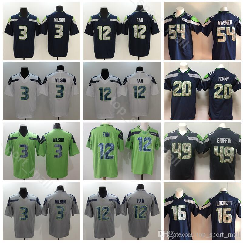 new concept c18fd 1494b Football Seattle Seahawks Rashaad Penny Jersey Men Russell Wilson Tyler  Lockett Shaquem Griffin Bobby Wagner 12th Fan Kam Chancellor
