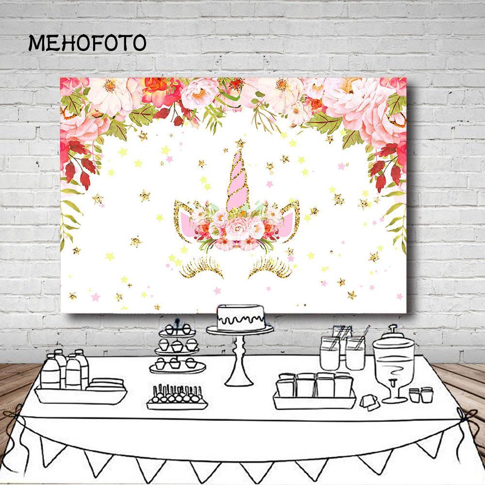 Vinyl Photography Background Girl Unicorn Birthday Party Pink Flower Gold Star Glitter Dessert Table Kids Backdrop Photo Studio Camera & Photo