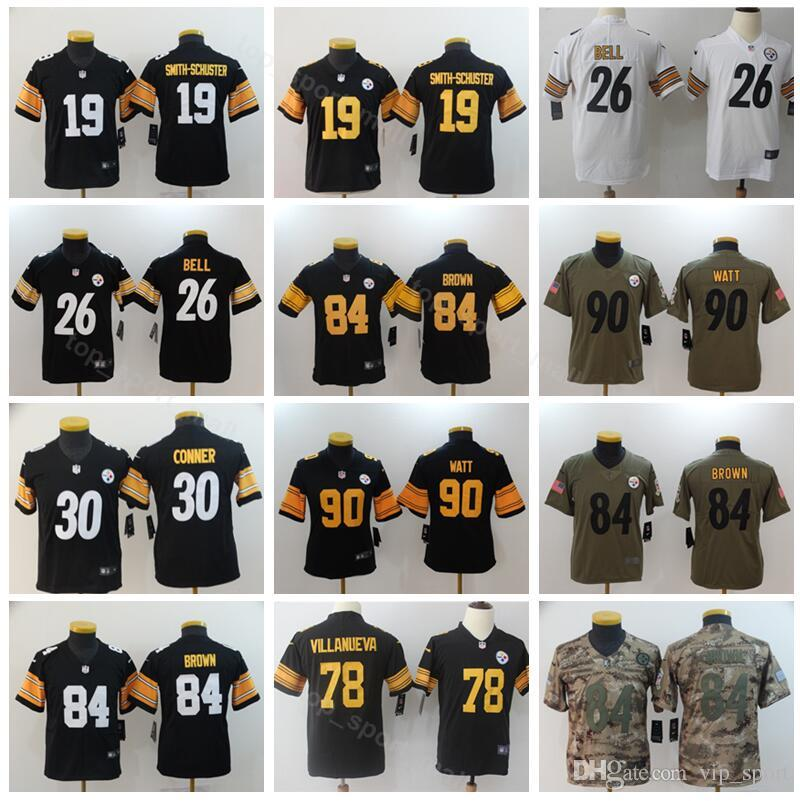 huge discount d4add 89d0e Pittsburgh Football Youth Steelers Jerseys Kids 19 JuJu Smith-Schuster  Schuster 30 James Conner 90 T.J TJ Watt Black White