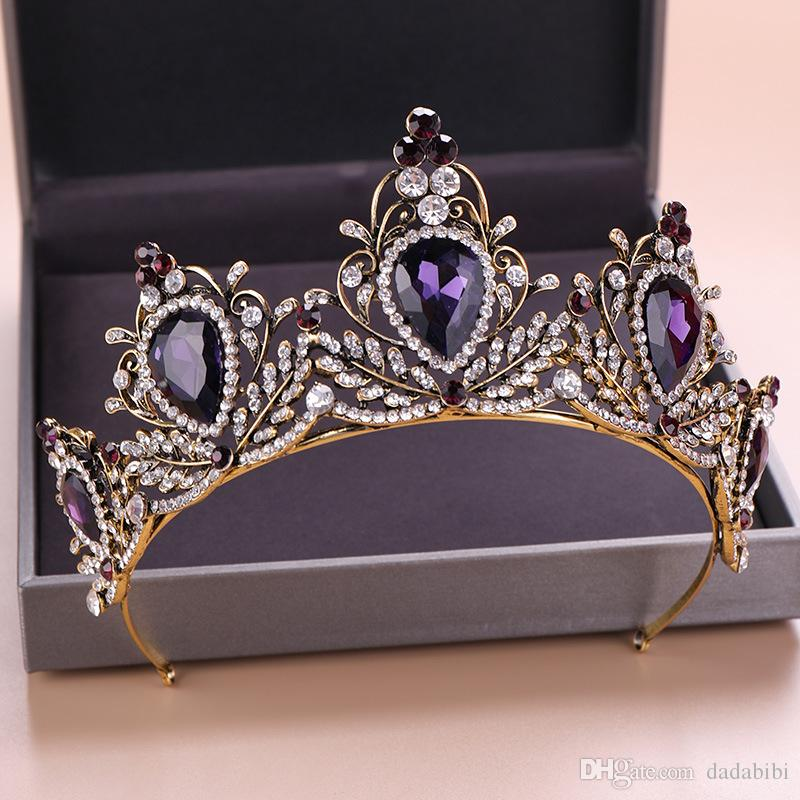 Purple Crystal Wedding Tiara Bridal Crown For Wedding Bride Vintage Gold Color Rhinestone Crown Headband Jewelry Accessories