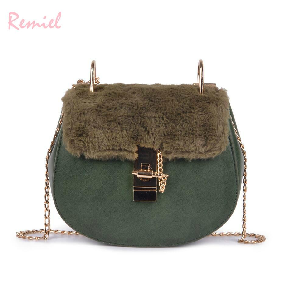 434770b56f48 Vintage Fashion Lady Small Saddle Bag 2019 New Quality Pu Leather Women S  Designer Handbag Plush Chain Shoulder Messenger Bags Shoulder Bags Handbags  On ...
