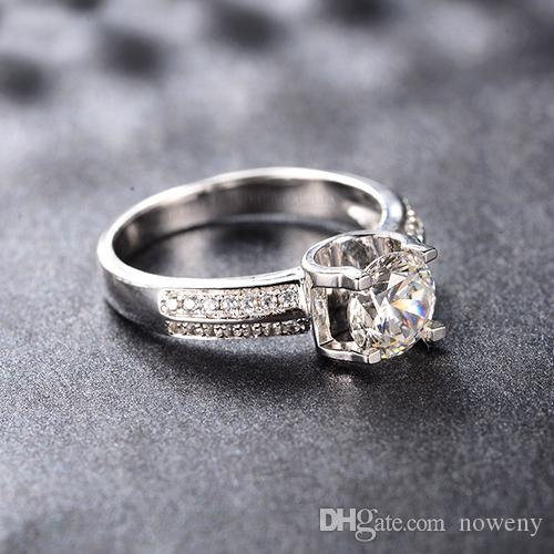 6f84f1410 2019 Luxury Semi Mount 925 Silver OX Rings PT950 Stamp Real Platinum Plated  Bride Ring For Women Fine Jewelry 2.0CT Synthetic Diamond Ring Girl From  Noweny, ...