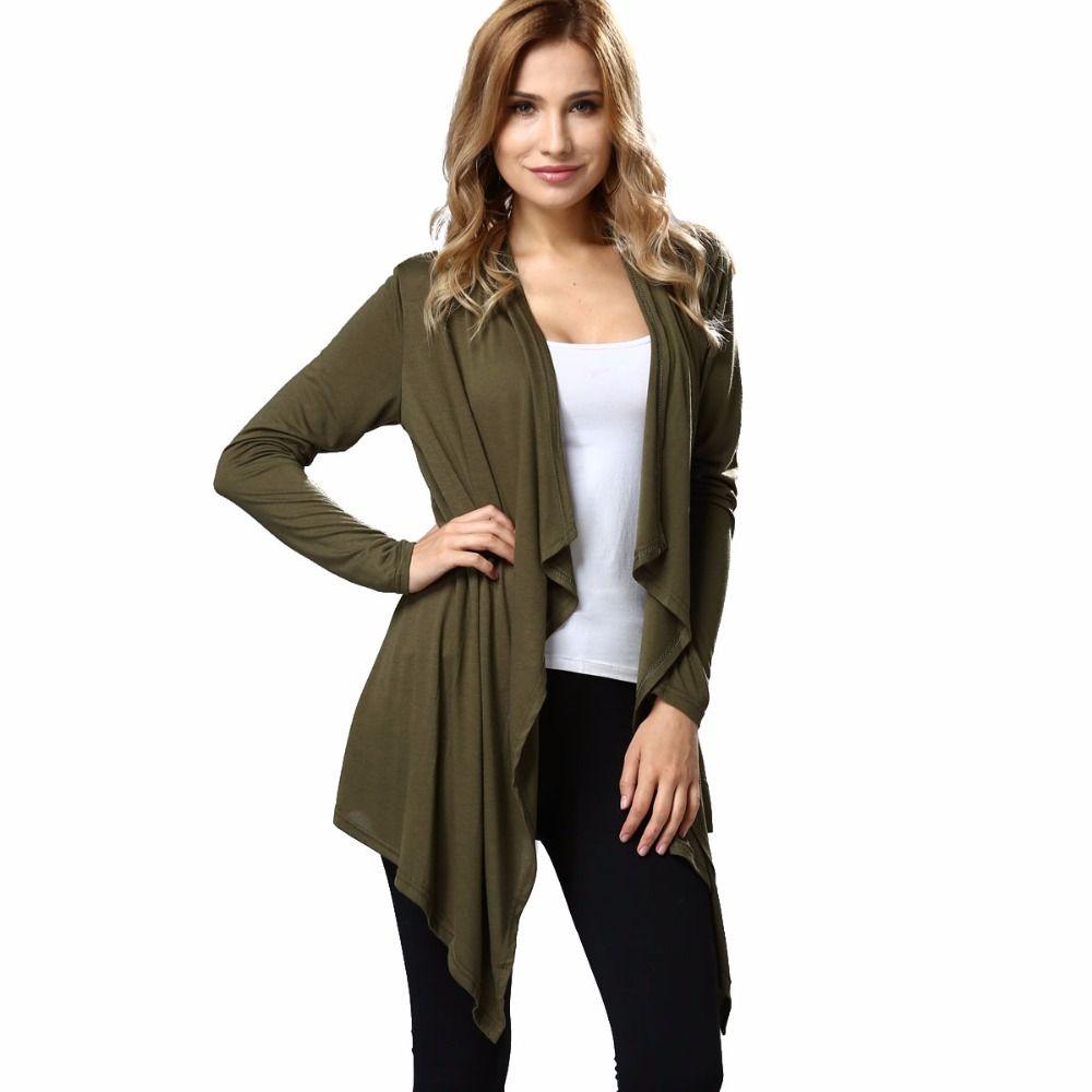 597994a509e 2019 Autumn Women S Drape Front Open Cardigan Long Sleeve Irregular Hem  Thin Loose Jacket Coat Lightweight Knit Cardigan Outwear From Victoriata