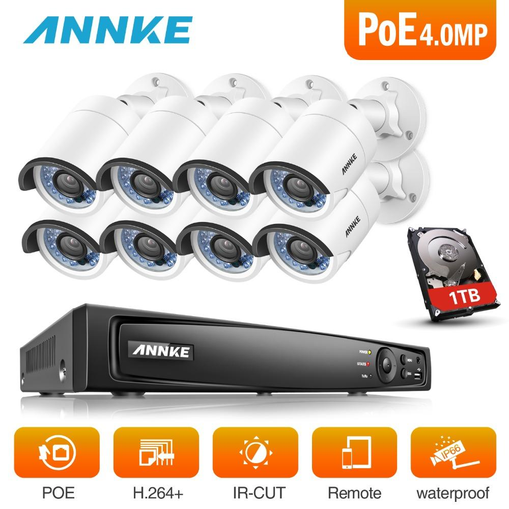 ANNKE 8CH 6MP POE NVR Security System With 8pcs 4mm 4MP 1688*1520 Outdoor  Weatherproof Night Vision Cameras P2P Onvif With HDD