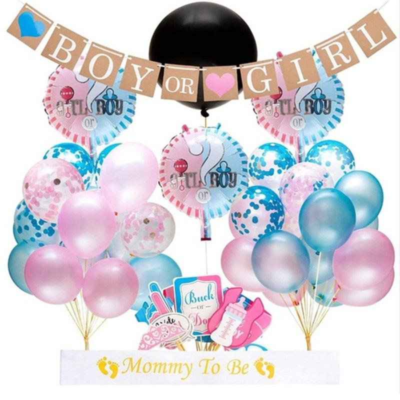 Gender Reveal Party Decoration 12 Inch Latex Balloon With Blue Pink Color Paper Scraps Boy Or Girl Kraft Paper Flag Photo Props35pdE1