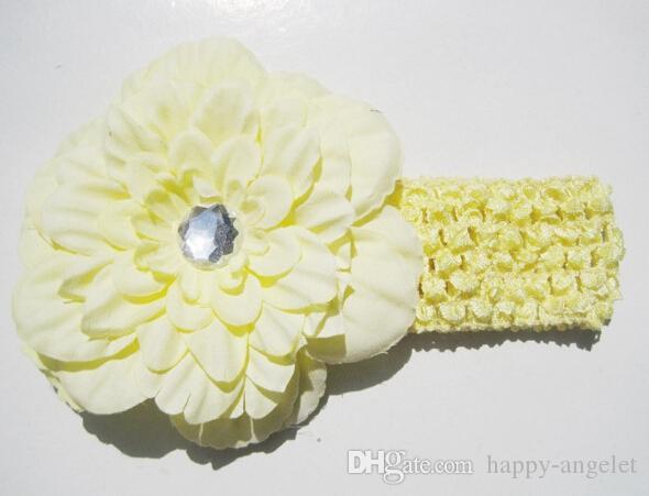 Ragazze Peony Fascia capelli con Crystal clip morbida fascia del Crochet di Headwrap del fiore del bambino Headwear Accessori GZ7425