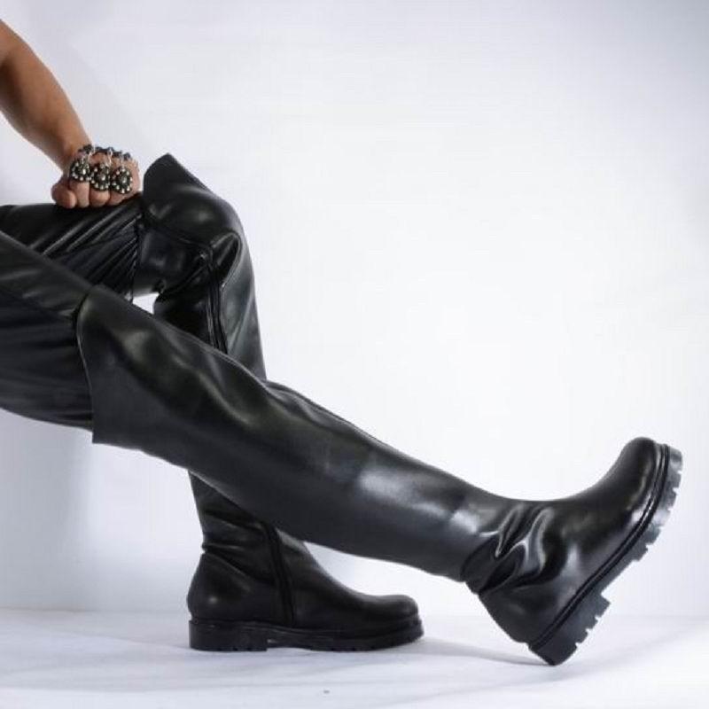 0ba793530e0cf2 Großhandel ERRFC Luxus Herren Schwarz Overknee Stiefel Mode Runde Kappe 57  Cm Hohe Stiefel Für Mann Ankleiden Pole Dance Schuhe 39 46 Von Tradingmk