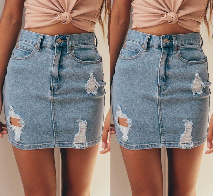 0257c77dc Señoras Lápiz Ripped Frayed Midi Falda Jeans Falda Casual Blue Jeans Faldas  Moda Mujer Denim Faldas de talle alto