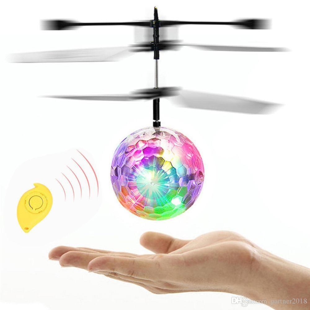 Hot Colorful LED Flashing Infrared Induction Helicopter Flying Ball Disco Magic LED Ball Stage Lamp Children Toy Best Gifts for Kids