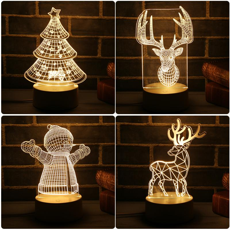 2018 Nuova lampada a LED 3D Carino albero di Natale Pupazzo di neve LED Night Light Xmas Party Decoration Energy Saving Atmosphere Control Lamp