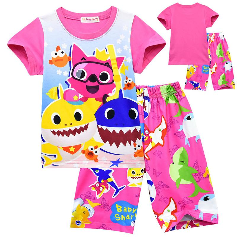 82c47af4 INS Kids Baby Shark Pajama Set 100-140cm Children Boys Girl Night Clothes  Short Sleeve T shirt + Shorts 2 piece Summer Home Sleepwear A41904