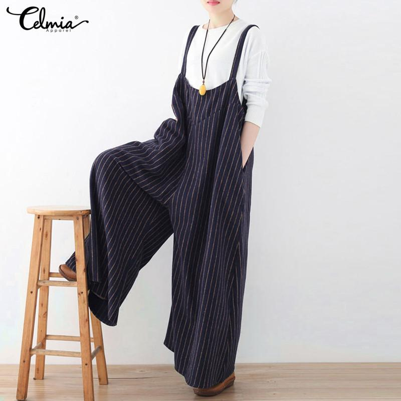 c64ec96a2654 2019 Celmia Rompers Women Jumpsuit 2018 Autumn Striped Playsuit Vintage  Backless Oversized Casual Loose Playsuits Plus Size Overalls Y1891808 From  Shenyan01 ...