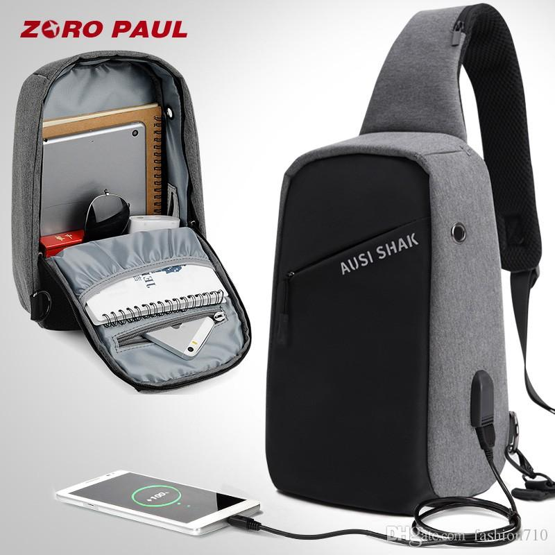 7e05ca84e Casual Messenger Bag Men USB Charging Design Man Chest Bag Pack Anti Theft  Shoulder Crossbody Bags For Men Travel Leather Bags For Men Evening Bags  From ...