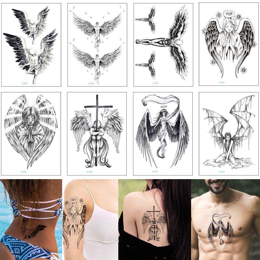 f5ed074b8 Black Sketch Wing Tattoo Sexy Angel Cross Deathwing Fake Temporary Body Art  Transfer Tattoo Sticker For Cool Woman Man Fashion 2019 New Gift Ladies  Back ...