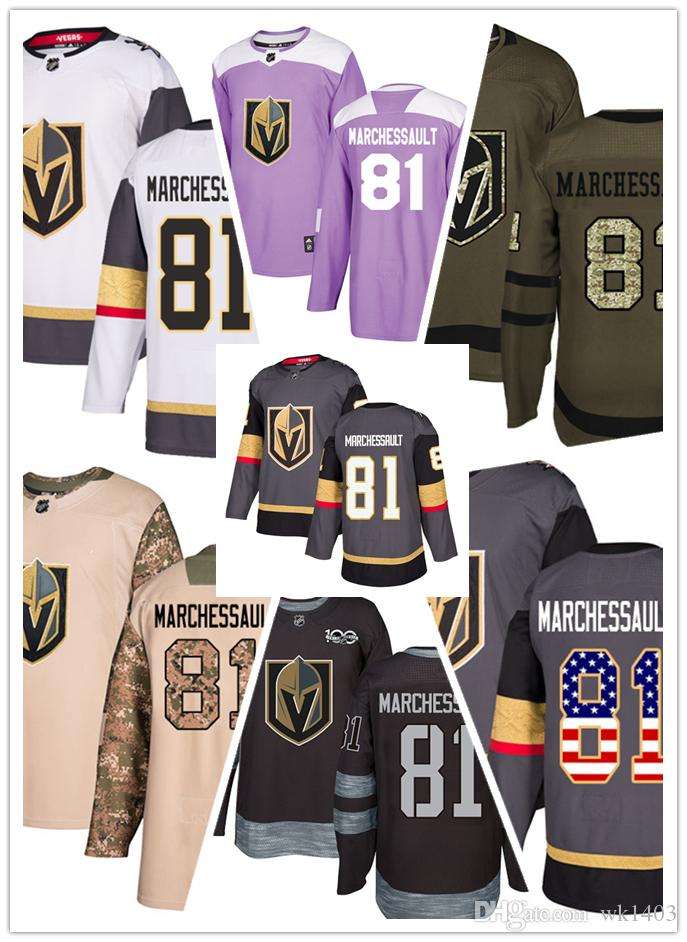 the latest 7929d 88acc Vegas Golden Knights jerseys 81 Jonathan Marchessault jersey hockey men  women gray white black Authentic winter classic Stiched gears Jersey