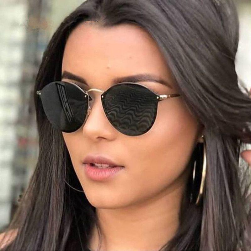 90ffe904e Compre 2019 Luxo Rodada Óculos De Sol Das Mulheres Designer De Marca CatEye  Retro Sem Aro Óculos De Sol Espelho Óculos De Sol Feminino 2018 Zonnebril  Dames ...