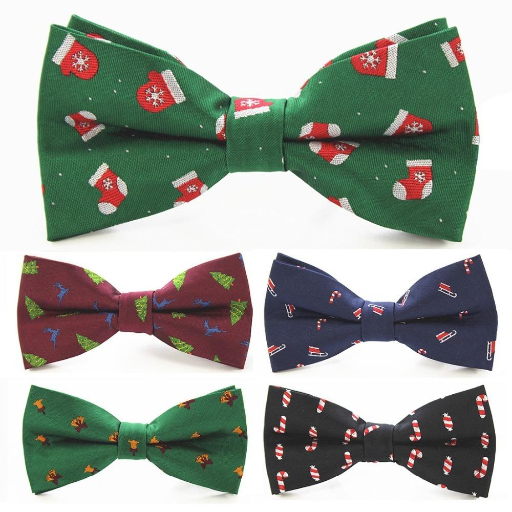 New Christmas Bow Tie Men's Green Christmas Tree Bowtie Black Bow Ties For Men Accessori da sposa Regali di Natale