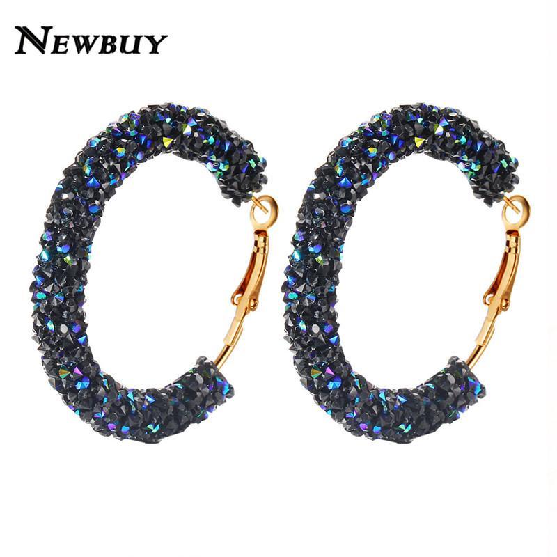 525b98b4ae NEWBUY 2018 Classic Design Fashion Charm Austrian Crystal Hoop Earrings  Geometric Round Shiny Rhinestone Female Earring Jewelry