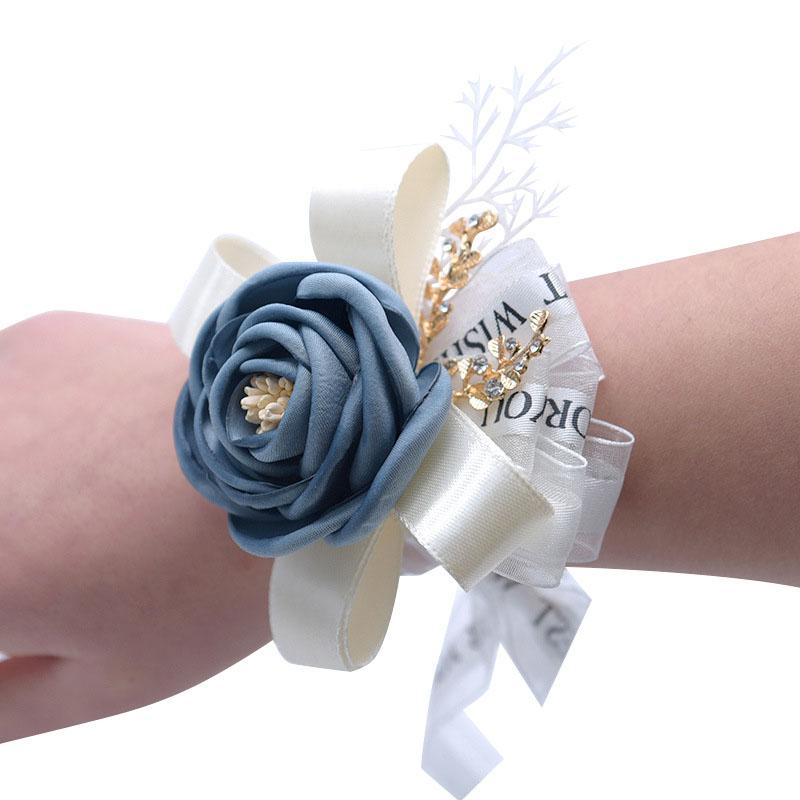 Wedding Bride Groom Corsages &Boutonnieres Aolly&Silk Rose Brooch Flower Ribbon Artificial Flower