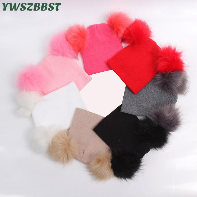 New Autumn Winter Crochet Children Hats Fur Pom Pom Ball Hat Girl Boy Wool Cap Baby Beanies Caps Toddlers Kids Knit Beanie Hats