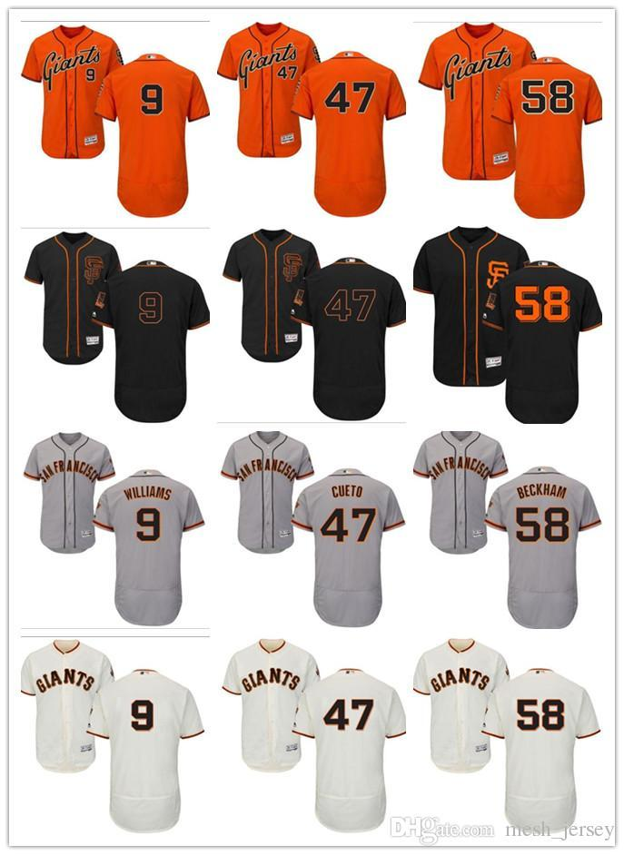 custom Men women youth SF Giants Jersey #9 Brandon Belt 9 Matt Williams 47 Johnny Cueto 58 Gordon Beckham Baseball Jerseys
