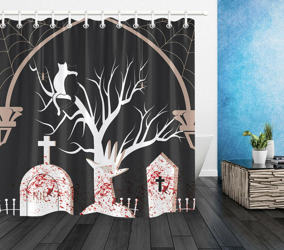 Halloween Bloody Tombstone Cat Couple Shower CurtainDurable Fabric Mold Proof Bathroom Pendant Creative with 12 Hooks 180X180CM