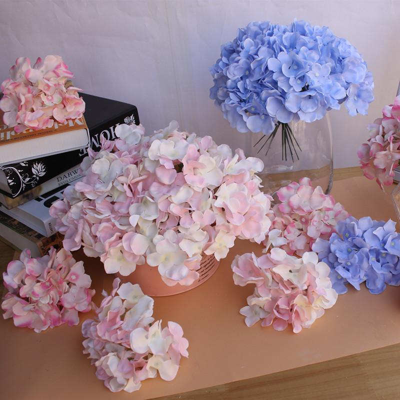 Artificial Flowers Hydrangea Flower Head Fake Silk Single Real Touch Hydrangeas Wedding Party Home Decorations MMA2552-1