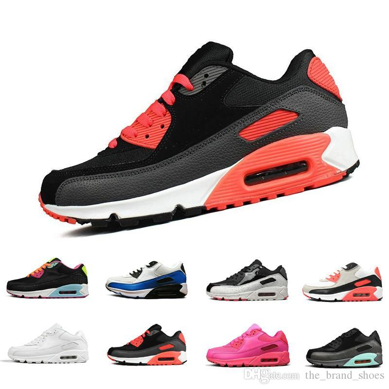 90 classic Men women Running Shoes Black Red White grey Sports Trainer air Cushion Surface Breathable max Sports Sneakers 36-45