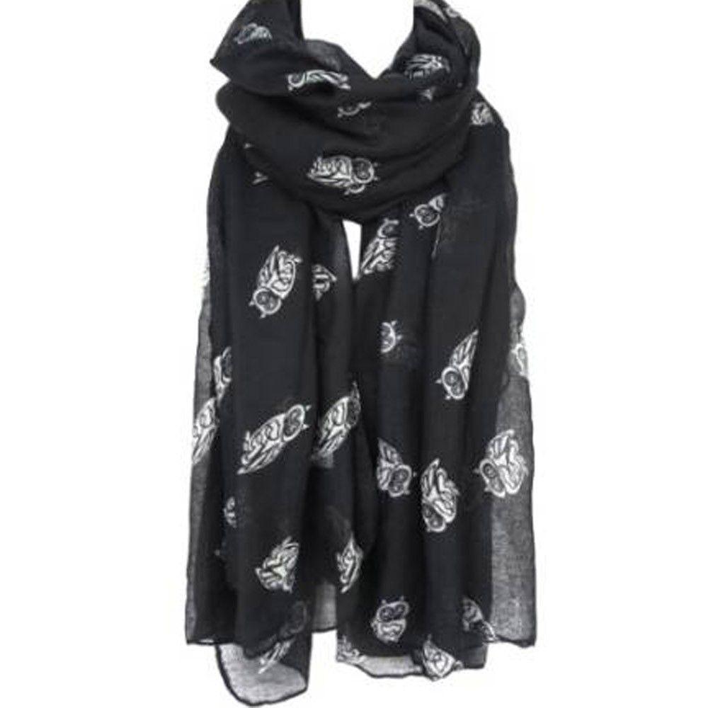 offizieller Shop sehr bekannt Modestil von 2019 Frauen Niedliche Eule Print Schal Lange Wraps Weiche Voile Schal Damen  Schöne Schals Hohe Qualität Große Größe Wrap 190 * 80 cm # L