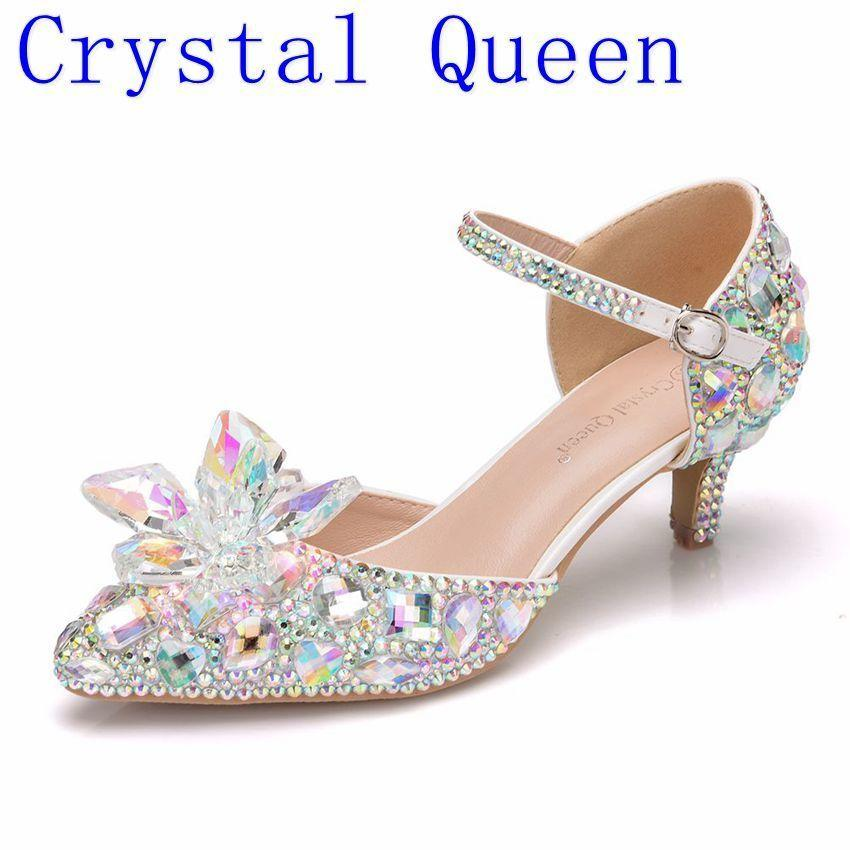 Cheap Shoes Queen 5 -inch Pointed Finger Shoe Bombs From Cinderella's Bride To The Bride With Strip In The Ankle Strass Mary Janes High Heel