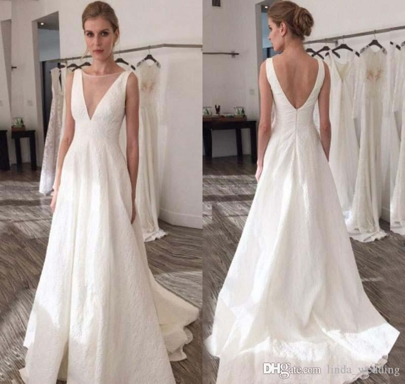 White Wedding Dress Under 500: Discount 2019 White Wedding Dress Simple Plain Summer