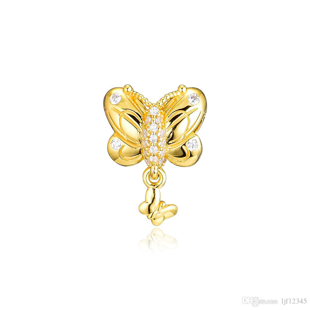 Woman Beads Shine Decorative Butterfly Charm Spring Garden Beads For Jewelry Making Fits Original Bracelets Sterling Silver Jewelry Charm