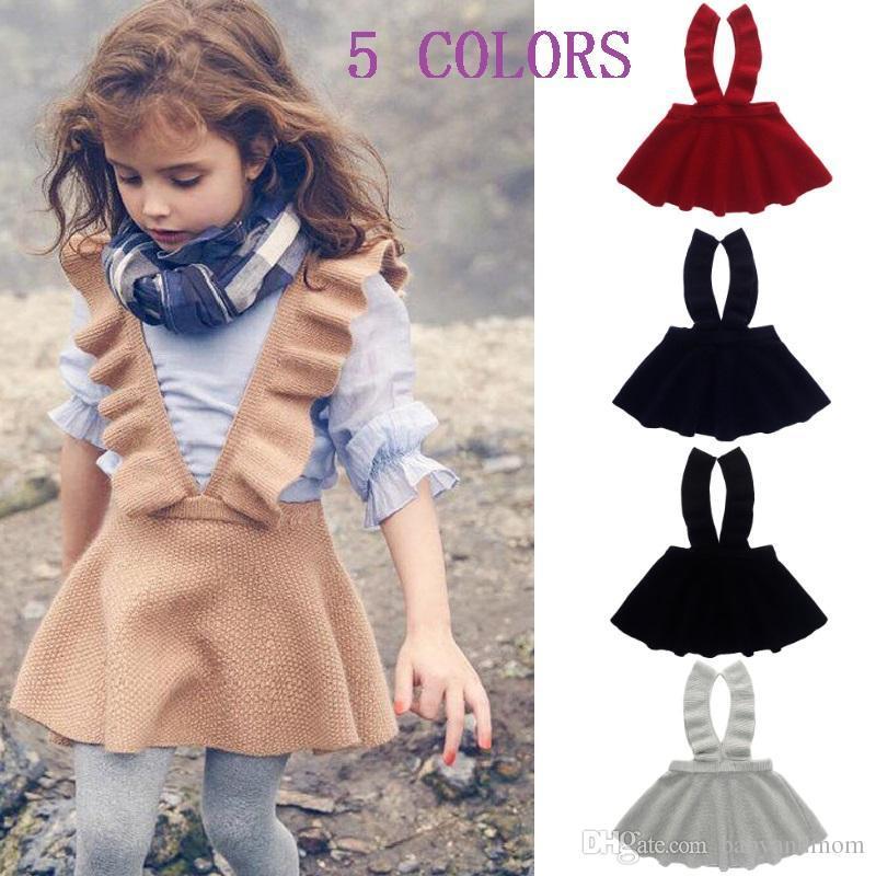 293f67d0a81 2019 Girls Sweater Dress Kids Clothing Fall Autumn Winter Dress Fashion  Sleeveless Princess Suspender Skirt Dress From Childrenshop