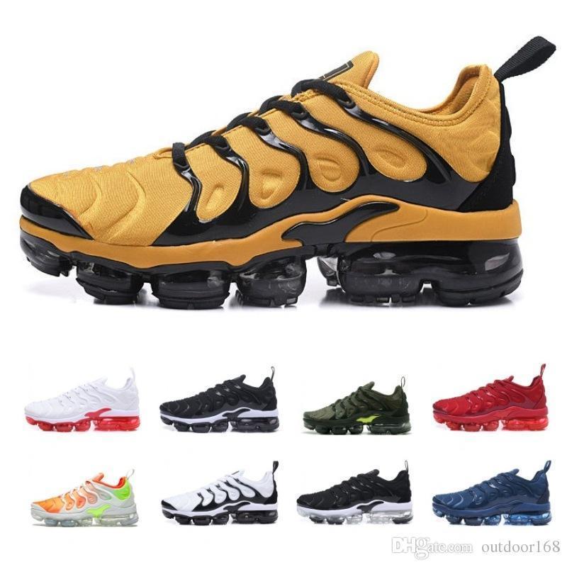 Venta al por mayor para hombre TN Plus amarillo puro plata blanca vamp negro diseño de la raya zapatillas deportivas al aire libre baratos senderismo