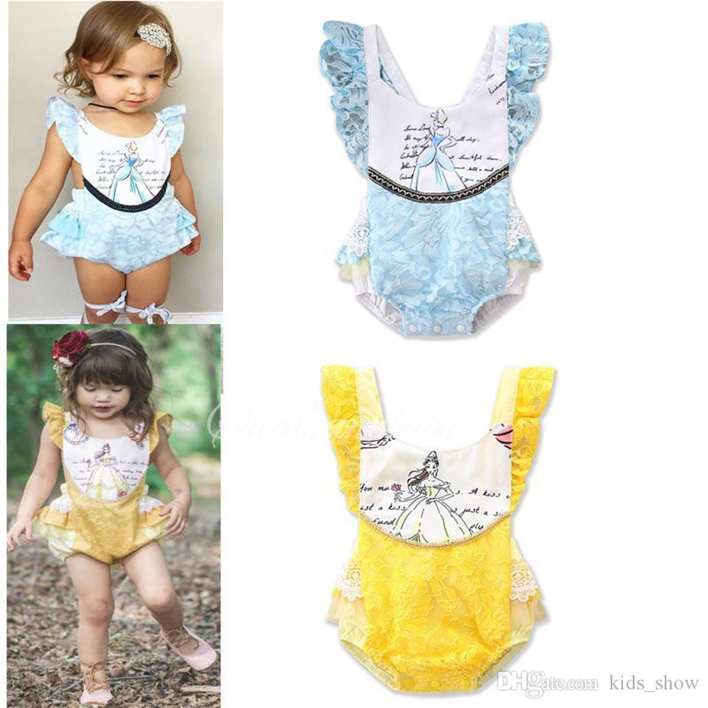 Baby Lace Sleeveless Romper Toddler Princess Printed Jumpsuits Summer Kids Ruffle Climbing Clothes Yellow Blue Color