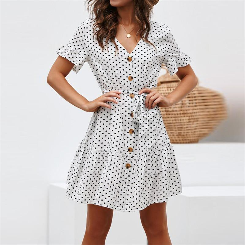 9e2a245e5f Women Summer Beach Chiffon Dress Casual Short Sleeve Polka Dot Dress Boho  Mini Party Dress Elegant V Neck Sundress Vestidos Long Women Dresses  Dresses Party ...