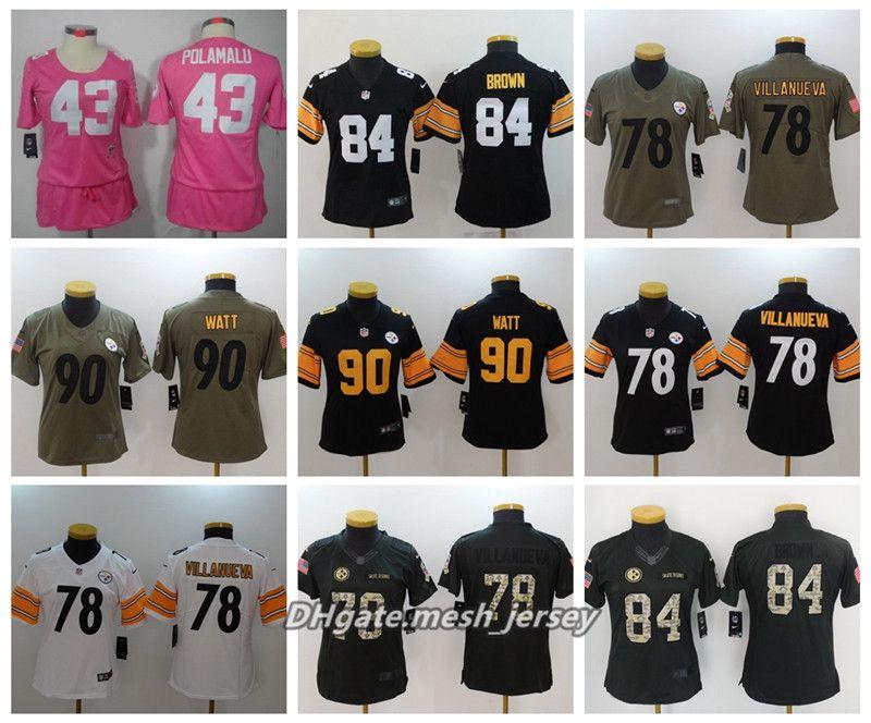 70230ed7ff6 2019 Women Pittsburgh Steelers American Football Jersey 84 Antonio Brown 90  T.J. Watt 78 Alejandro Villanueva 43 Polamalu Stitching Jerseys From  Aaa jersey
