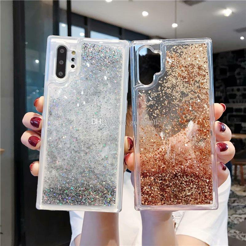 Bling liquide Quicksand Phone Case pour iPhone 11Pro Max XS Max XR 7 8 Plus Samsung S8 S9 S10 Remarque 10Pro Brillant Etoiles TPU Glitter Case Cover