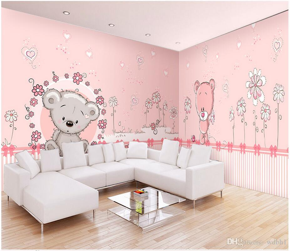 3d room wallpaper cloth custom photo Whole House Custom Pink Bear Princess Room Mural wallpaper for walls 3 d print fabric wall covering
