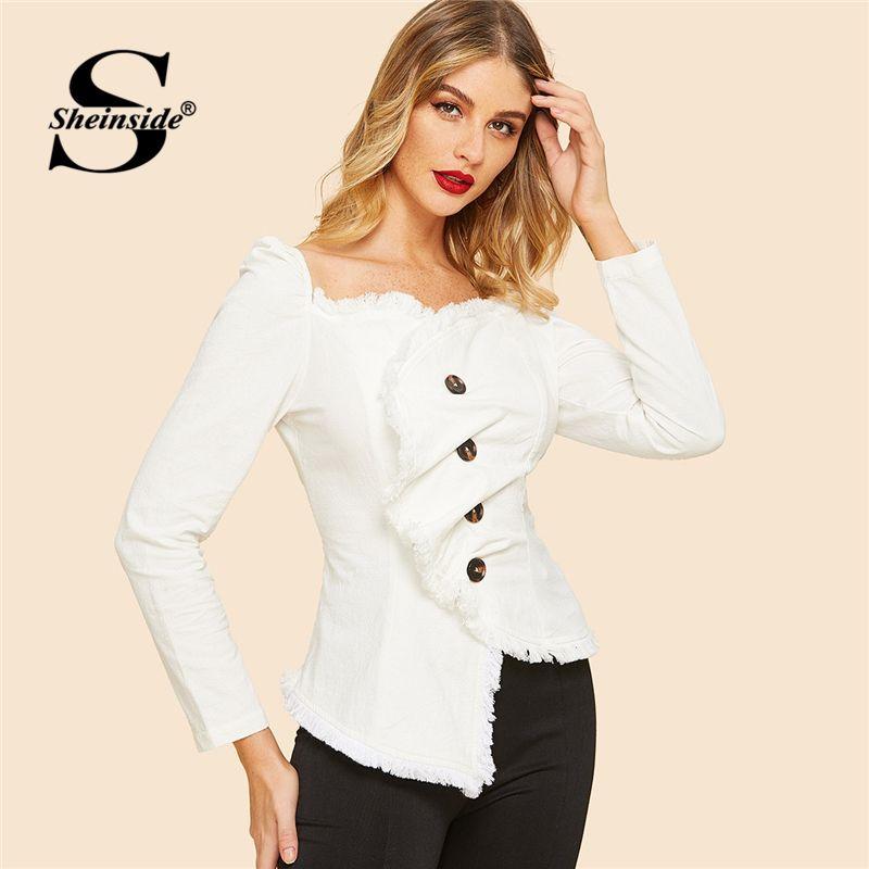 3dc5784c 2019 Sheinside White Vintage Frayed Edge Wrap Top Women 2019 Spring  Asymmetrical Hem Blouse Ladies Elegant Solid Trim Button Shirt C19041601  From Shen8407, ...