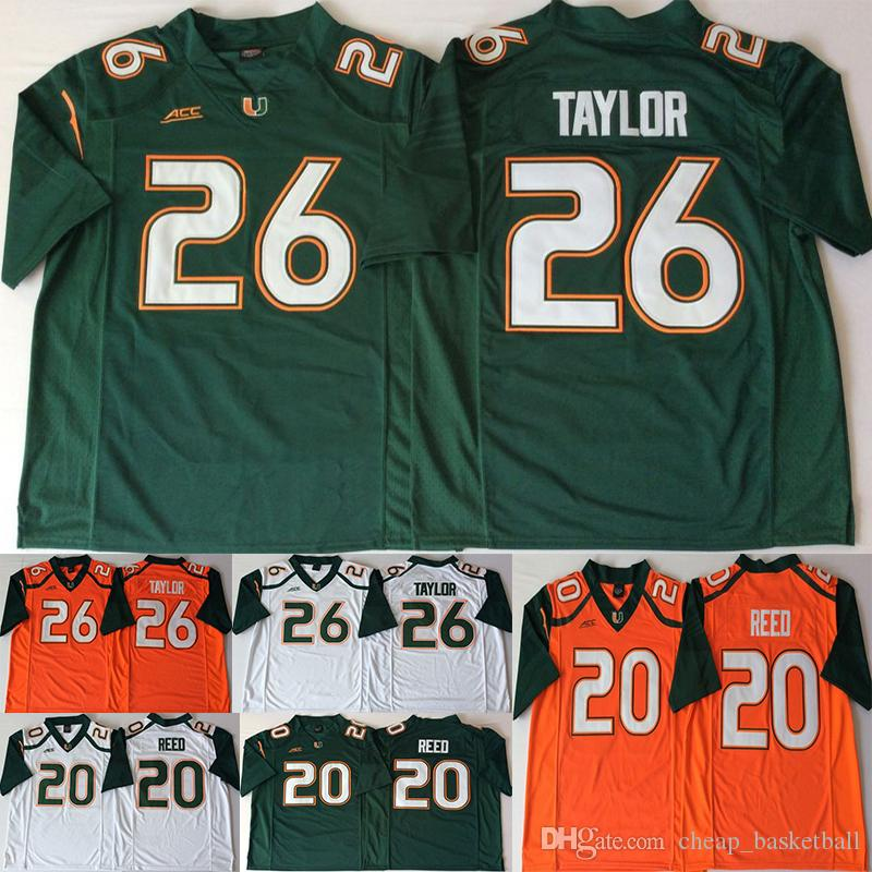 26 Sean Taylor Miami Hurricanes Jerseys 20 Ed Reed ACC Orange Green White  Men College Football Jersey