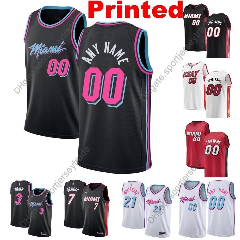 official photos ca3d2 9f122 Printed Mens Miami City Heat Josh Richardson Dwyane Wade Goran Dragic  Waiters Hassan Whiteside Adebayo Jones Jr. Edition Basketball Jersey